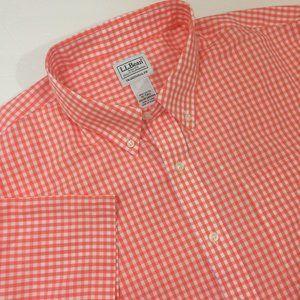 LL Bean Short Sleeve Button Down Shirt Checkered